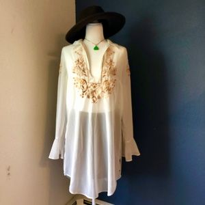 Free People Embroidered Sheer Tunic